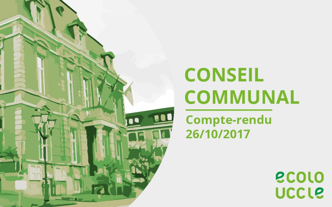 Conseil communal 26/10/2017 – Compte-rendu