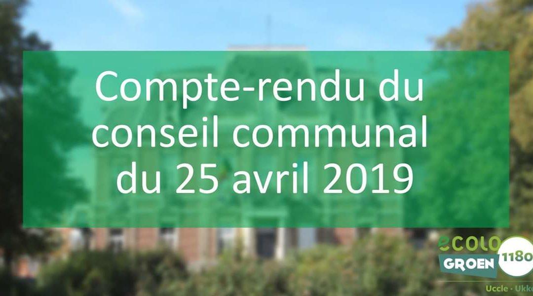 Compte-rendu du conseil communal du 25/04/2019