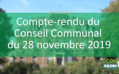 Conseil Communal du 28/11/19 – Projet cyclable Verrewinkel, Motion contre les féminicides et Centre Culturel