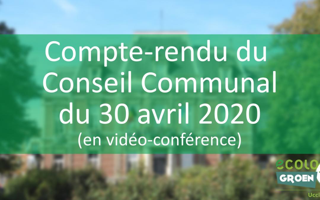 Conseil Communal du 30/04/20 : COVID-19