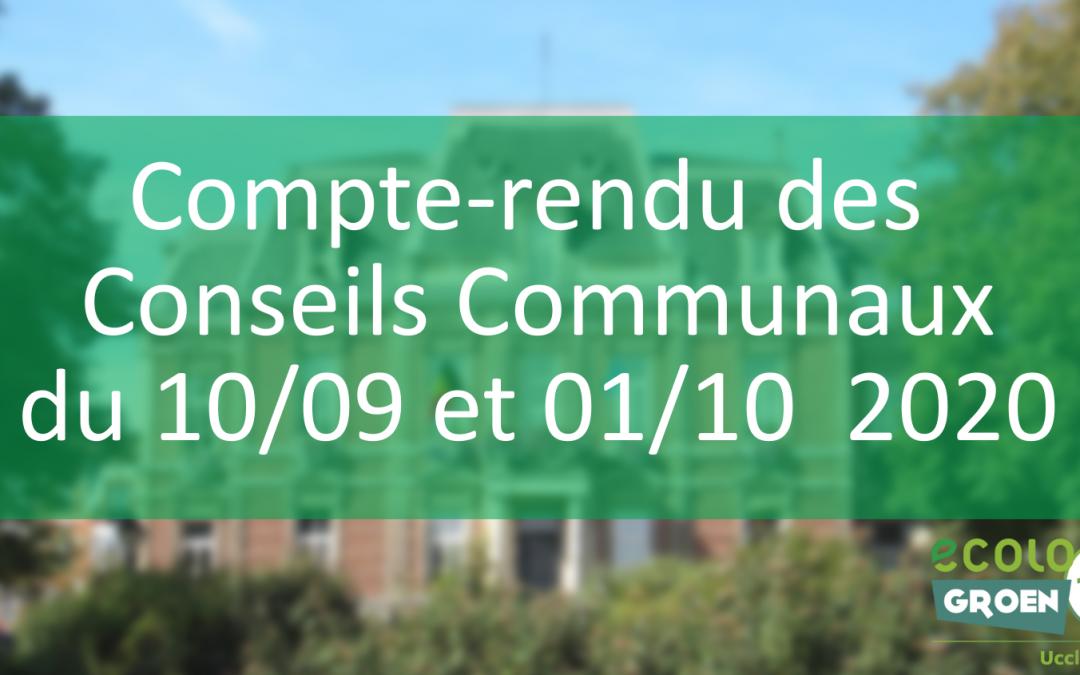 Conseils communaux du 10/09 et 01/10