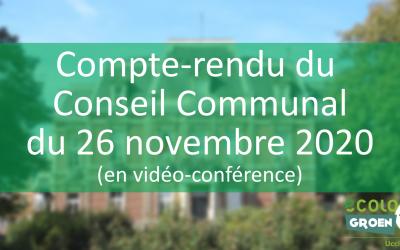 Conseil Communal du 26/11/20 : Vice-Présidence, Vélo, Subside, Transport en commun