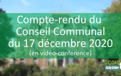 Conseil Communal du 17/12/20 : premières rues cyclables, éolienne, budget participatif et décrochage scolaire