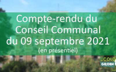 Conseil Communal de 09/09/21 : Transparence, av. B. J. Hérinckx, rue VDK, Inondations, CPAS